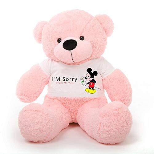 CLICK4DEAL Big Teddy Bear 4 feet Long Wearing I AM Sorry T-Shirt ( Bear 121 cm ) with Free Heart Shape Pillow Pink