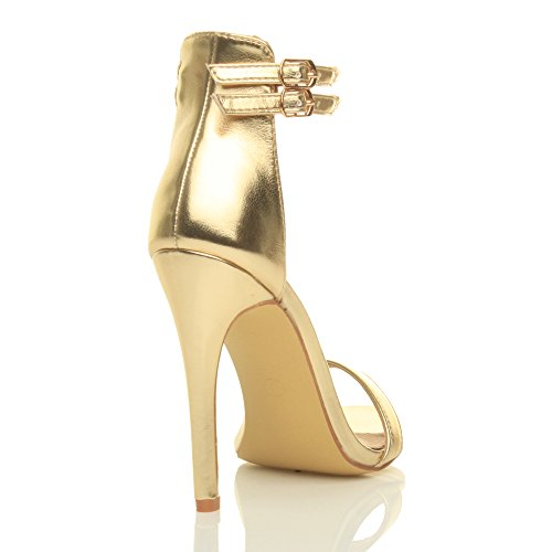 Femmes talon haut à peine là cheville lanières boucle fête soirée sandales pointure Or métallique