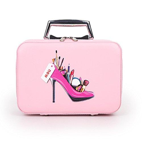 CJJC Make-up-Beutel-Frauen-Kleine Tragbare Kosmetische Fall-Nagel-Bürsten-Organisator-Speicher PU-Lederner Kasten Für Reise,Pink (Und Make-up-fälle Kleine Kästen)