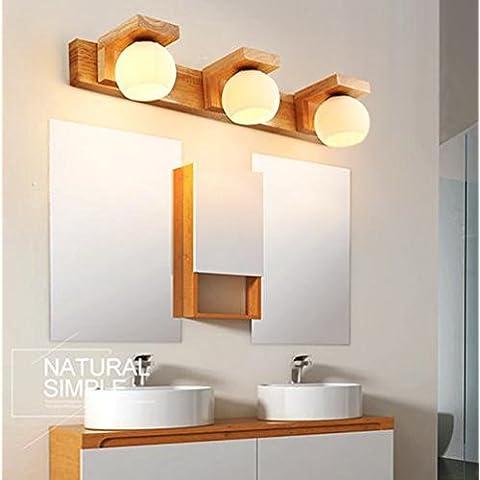 FWEF madera tres cabeza lámpara nórdico registro luz madera aparador maquillaje dormitorio espejo gabinete baño baño espejo frontal lámpara (72 * 24cm)