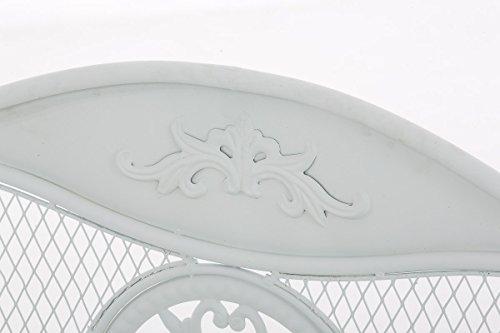 CLP Gartenbank RIKE im Landhausstil, aus lackiertem Eisen, 136 x 59 cm – aus bis zu 6 Farben wählen Weiß - 4
