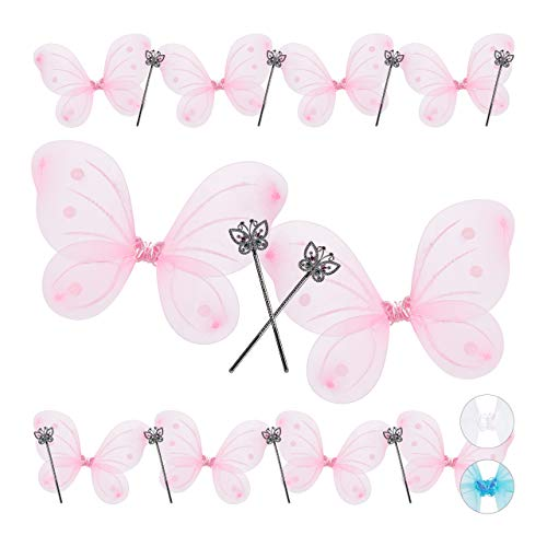 Mit Flügeln Kostüm - Relaxdays 10 x Feenflügel mit Zauberstab, Fee Kostüm Kinder, Flügel & Zepter, Glitzer, Mädchen, Feenset, pink & silber