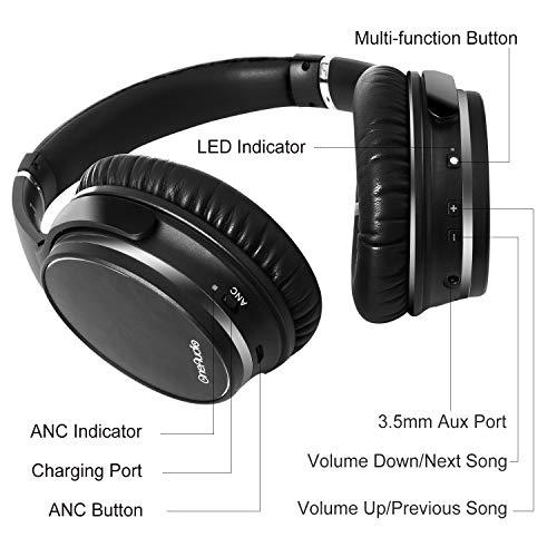 OneAudio Active Noise Cancelling Kopfhörer ANC Bluetooth Over Ear Headset mit aktiver Rauschunterdrückung 18 Stunden Spielzeit, integriertem Mikrofon, Schwarz - 6