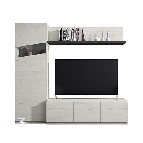Tousmesmeubles Composition TV Bois Blanchi/Bois Noir - Camelia n°3 - L 210 x l 45 x H 185 - Neuf