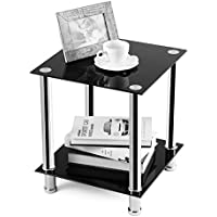 RFIVER TAVR Furniture Black Glass Coffee Table,End Table,Sofa Table, Night Table,Square 39x39x45(H) cm ET2001