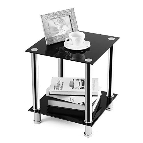 RFIVER Table Basse Salon Bout de Canapé avec 2 Etagères Table de Chevet Verre Trempé au Coins Carré Noir ET2001