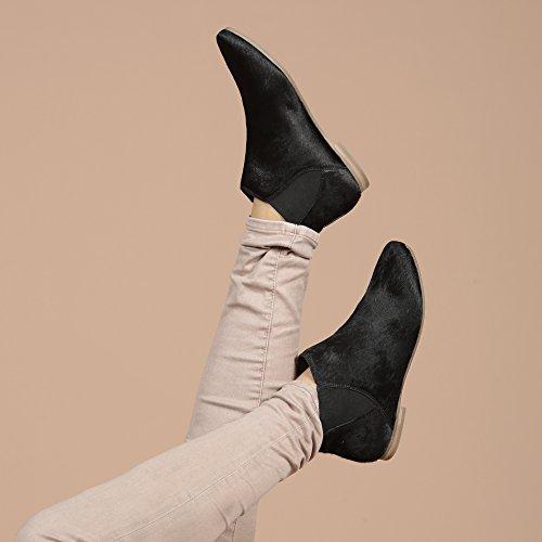 Aspele - Damen Leder Mit Haaren Geparden Aufdruck Flache chelsea Stiefelletten Schuhe Pony Black