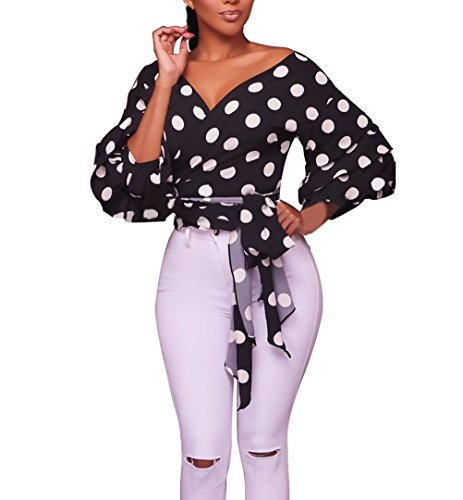Tops Mujer Elegantes Vintage Manga Linterna Lunares Camisas Fiesta Classic Chic Manga Larga V Cuello Slim Fit Chic Primavera Camisa Blusas