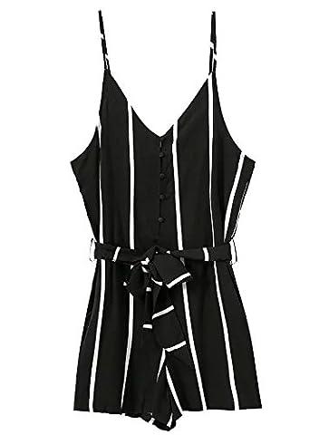 Futurino Damen Stripe Print Adjustable Cami Waist Tie Romper