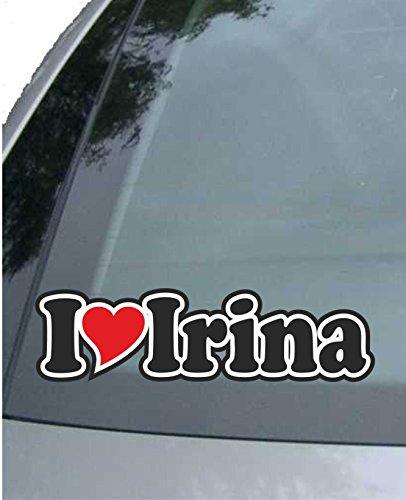 7185c96308 JINTORA - Etiqueta - Pegatina para el Coche - I Love Heart - Amo con  Corazon 15 cm - I Love Irina - Camión portátil con Ventana - Pegatina con  el Nombre de ...