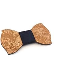 GIGETTO Papillon in legno fatto a mano con nodo in ecopelle blu scuro. Farfallino artigianale. Cinturino regolabile. Limited Edition PATTERN