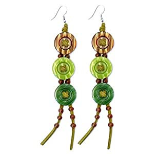 Drop Earring 3x20mm Buttons 13cm Long (Greens) Made With Suede & Leather by JOE COOL