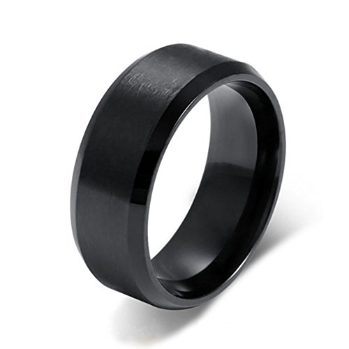 Heyrock 8mm Brushed Black Ring For Men&Women Simple 316L Stainless Steel Wedding Bands (Stainless Steel Wide Band)