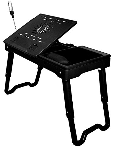 Portable & Adjustable Folding Laptop Desk- Lap Desk With LED Light, 4 USB 2.0 Ports & Cooling Fan- Writing Table With Pen Compartments & Mouse Pad with Wrist Gel Rest- Choose Your Angle