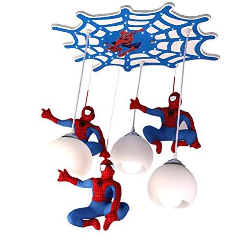 Deckenlampe Modern Design 3-flammig Spider-Man Kinderzimmer Stoff Pendelleuchte Weiß Glass Lampenschirm Pendellampe Blau Schlafzimmer Lampe Männlich Jungen Deckenleuchte E27 Kinder Kronleuchter