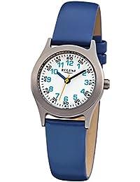 Regent Kinder-Armbanduhr Elegant Analog Leder-Armband blau Quarz-Uhr Ziffernblatt weiß URF947
