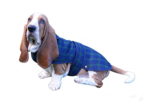 Lovely Shower-proof Poly Viscose Black Watch Tartan Dog Coat with Fleece Lining- Available in 3 sizes (Medium) -