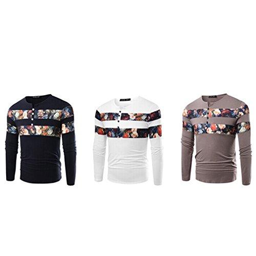 Honghu Herren Longsleeve Casual T-shirts Slim Fit Grau