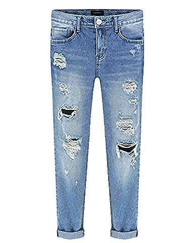 Femme Boyfriend Jeans Déchirés Troué Skinny Denim Slim Pantalons Crayon