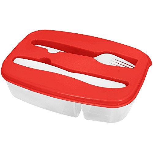 Promobo - Lunch Box Panier Repas Boite Alimentaire Deux Compartiments Et Couverts Rouge