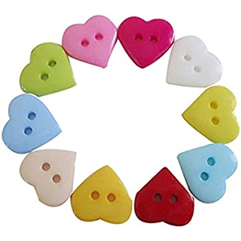 Multicolor Heart 2 Holes Resin Sewing Buttons Scrapbooking 12x11mm