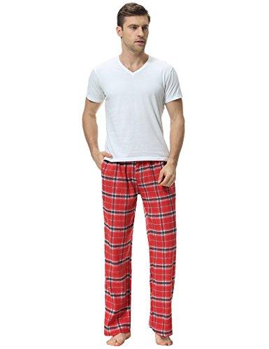 Aibrou Herren Baumwolle Karierte Lange Schlafanzughose Pyjamahose Rot