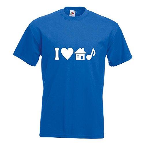 KIWISTAR - I Love House Music T-Shirt in 15 verschiedenen Farben - Herren Funshirt bedruckt Design Sprüche Spruch Motive Oberteil Baumwolle Print Größe S M L XL XXL Royal