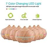 Aroma Diffuser 400ml Tenswall Luftbefeuchter Oil Düfte Humidifier Holzmaserung LED mit 7 Farben für für Yoga Salon Spa Wohn-, Schlaf-, Bade- oder Kinderzimmer Büro - 2
