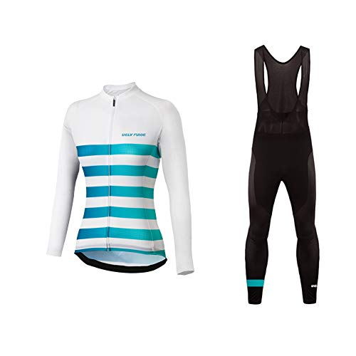 Uglyfrog Maglia da Ciclismo da Donna a Mezza Manica Lunga Bici Team Racing Top+Cinturino Pantaloni Set Due Pezzi Primavera/Autunno Style