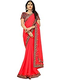 Vastrang Women's Georgette Saree With Blouse Piece(6211PRCH_Red_Free Size)