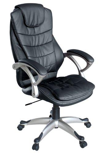 My sit sedia da ufficio poltrona girevole direzionale presitenziale regolabile in altezza pelle sintetica nuovo chicago in nero con braccioli nouvo