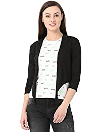 Alibi Black Cotton Shrug for Women