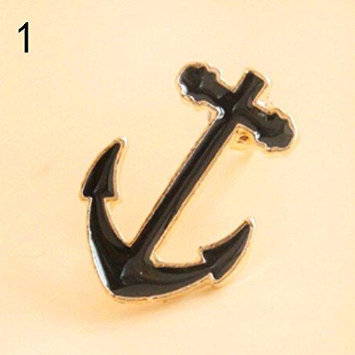 Growthci Vintage Retro Brooch Rudder Anchor Moustache Beard Pins Badge Insignia Anchors Black