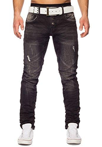Herren Jeans Eight ID1423 Slim Fit destroyed Grau Dunkelgrau