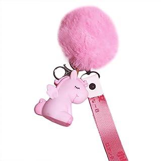 Milnut Elegant Einhorn Plüsch-Kugel Keychain mit Band Schlüsselanhänger Pelz Ball Fahrzeugschlüssel Dekor Handtaschenanhänger (Rosa)