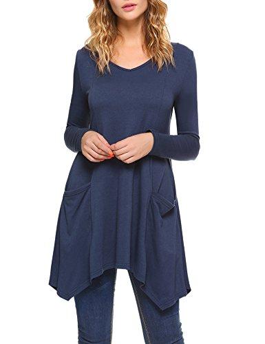 iClosam Damen Langarmshirt, V-Ausschnitt Langarm Asymmetrische Saum Tunika Tops mit Taschen (Saum Leggings)