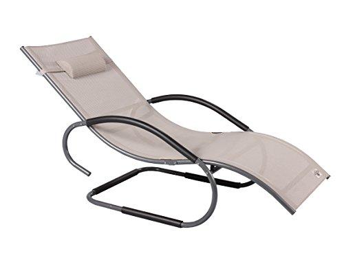 Strandgut07lusso alluminio xxxl vibrazione sedia a sdraio swing sedia sdraio da beige