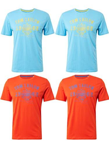 TOM TAILOR 4er Pack Herren Rundhals T-Shirt Logo Tee Basic, Größe:XXL, Farbe:2X Aquarius Turquoise 2X Basic Red