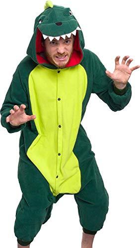 (Memoryee Unisex Erwachsene Pyjamas - Plüsch Kostüm Party Cosplay Tier Dinosaurier Kostüm Idee/Gr¨¹n/XL)
