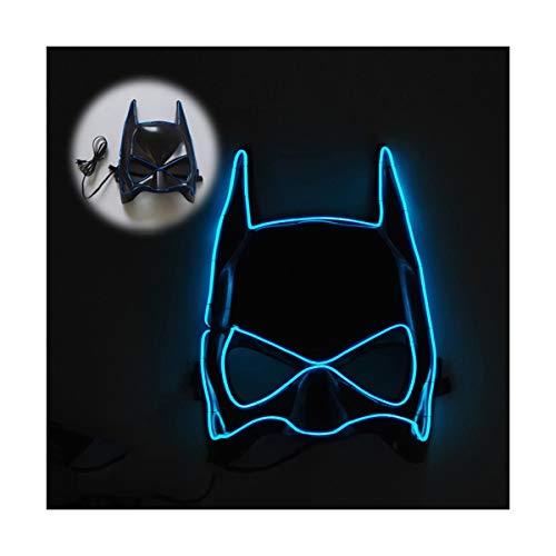 YOIO LED-Maske EL Kaltlichtglühlinie Fledermaus Halbe Gesichtsmaske, blau
