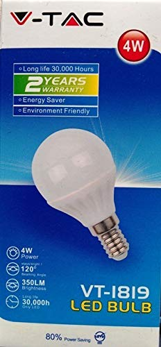 10-er SET, V-TAC, 4123, E14, 4W, LED Birne, LED Lampe, Tropfen-Form, 2700K, Warmweiß, 320 Lumen, 180° Abstrahlwinkel