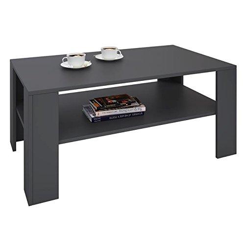 IDIMEX Table Basse de Salon Lorient rectangulaire avec Tablette mélaminé Gris Mat