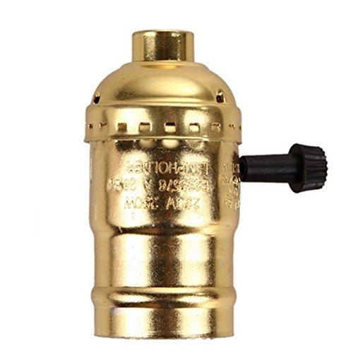 SCSY-Glühbirne E27 Glühbirne Buchse, Edison Retro Pendelleuchte Halter für Lampenfassung und Fixture Ersatz, Industrie Vintage mit Knob Schalter (Color : Gold)