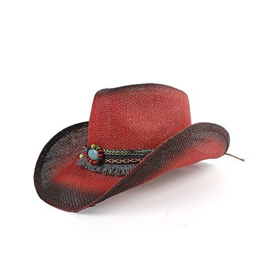 W.Z.H.H.H Mützen Stroh Western Cowboyhut Männer handgemachte Strand fühlte Sunhats Sommer Party Cap for Mann Frau Cowboyhut (Farbe : Rot, Größe : 56-58) (Fühlte Angeln Hüte)