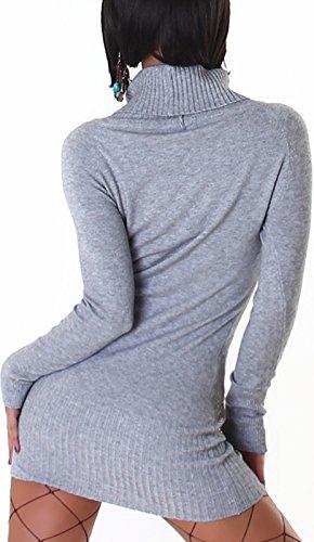 Jela London - Robe - Crayon - Uni - Manches Longues - Femme gris clair
