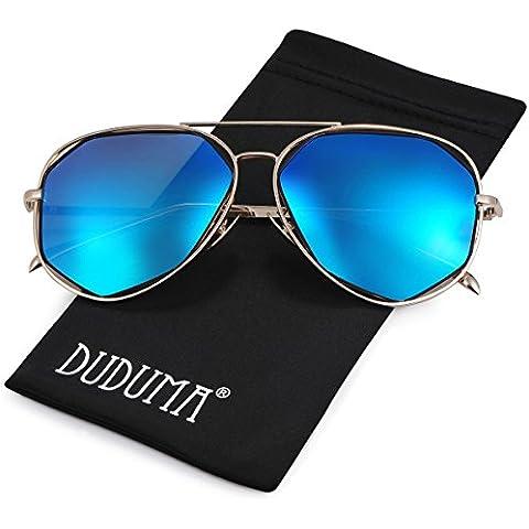 Duduma Polarizzati Occhiali da Sole Aviator Modo con il Piano Lente della Struttura del Metallo per le Donne e Gli Uomini 0713