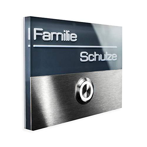 Metzler-Trade - Edelstahl Türklingel Anthrazit - inkl. Gravur/Beschriftung - LED beleuchteter Taster wasser- & staubdicht