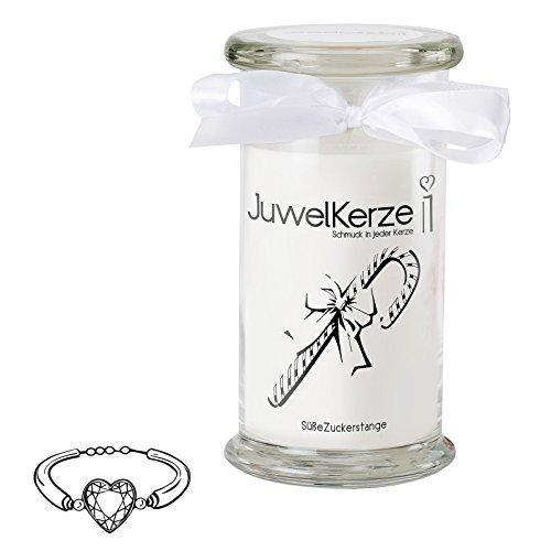 ckerstange - Kerze im Glas mit Schmuck - Große weiße Duftkerze mit Überraschung als Geschenk für Sie (925 Sterling Silber Armband, Brenndauer: 90-120 Stunden) (Große Zuckerstangen)