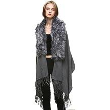 Vogueearth Mujer'Zorro Pelaje/Pelo Sintético Pelaje Artificial Piel Sintética Dos Materiales Elegir Cashmere Wraps Fular Envolver Mantón Estolas Capes