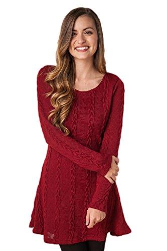 YiJee Maglione Knit da Donna Abito Casuale Sweater Manica Lunga Vino